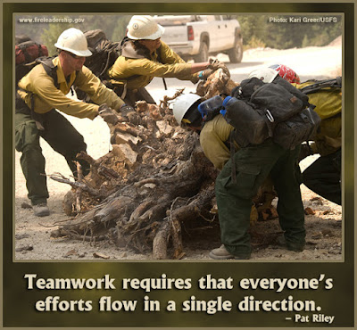Teamwork requires that everyone's efforts flow in a single direction. - Pat Riley [Wildland firefighters moving a stump; two on each side trying to roll it.]