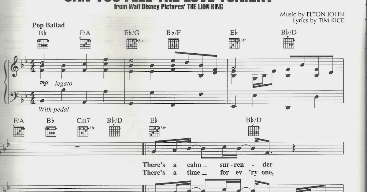 All Music Chords can you feel the love tonight sheet music : Fofaurs: Sheet music Can you Feel the Love Tonight