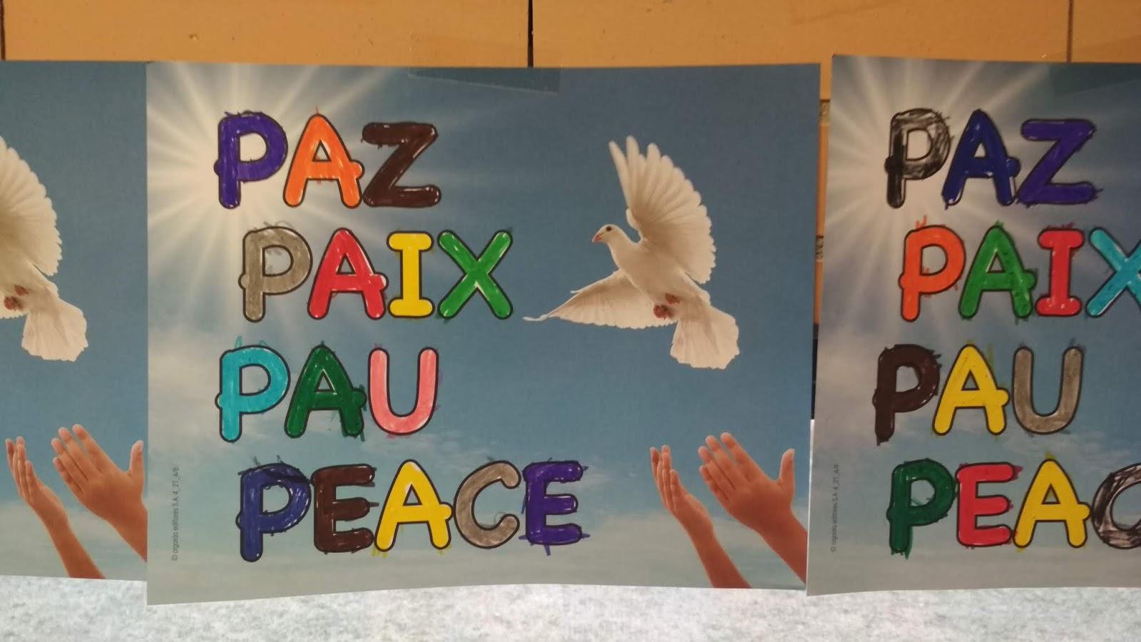 Para Colorear Paz En Diferentes Idiomas Crafts Diy And Ideas Blog