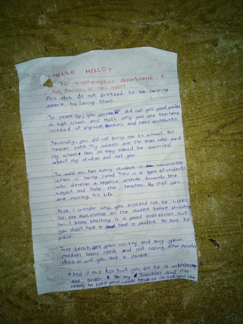 You Did Not Get Good Grades In School! Frustrated Student Writes Letter To His Teachers