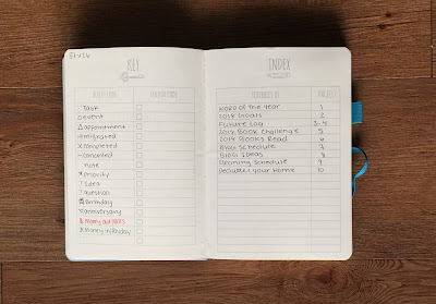 My 2018 Bullet Journal Set-up: Key