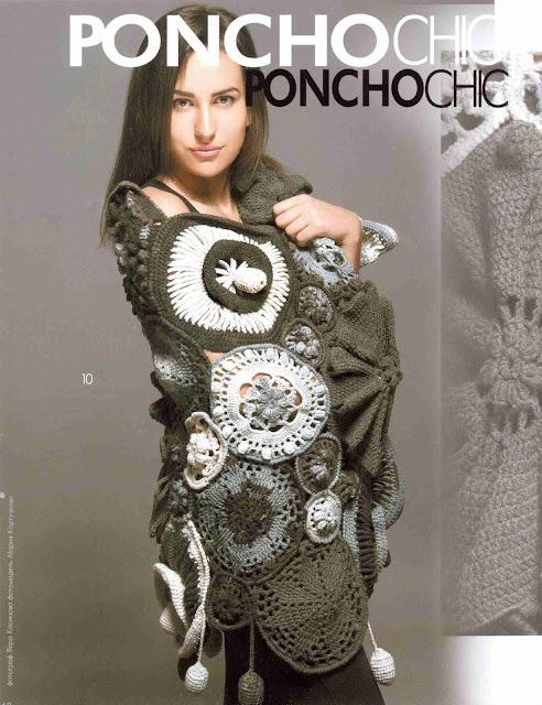 Patrón #1331: Poncho a Ganchillo