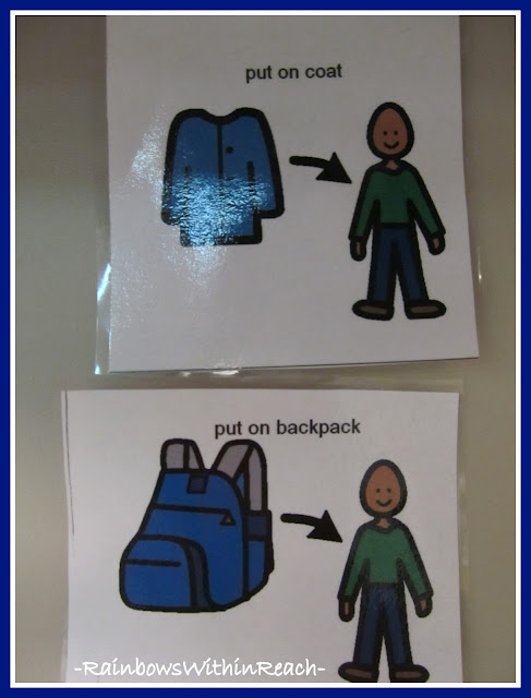 photo of: Visual Cues for Preparing to Leave School: Coat and Backpack