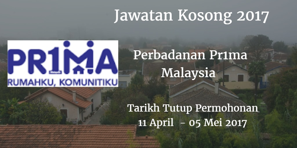 Jawatan Kosong Perbadanan Pr1ma Malaysia 11 April - 05 Mei 2017