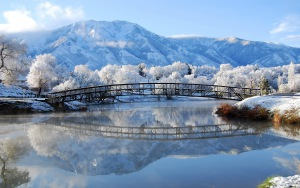 Desktop HD Wallpaper Winter Bridge Landscape