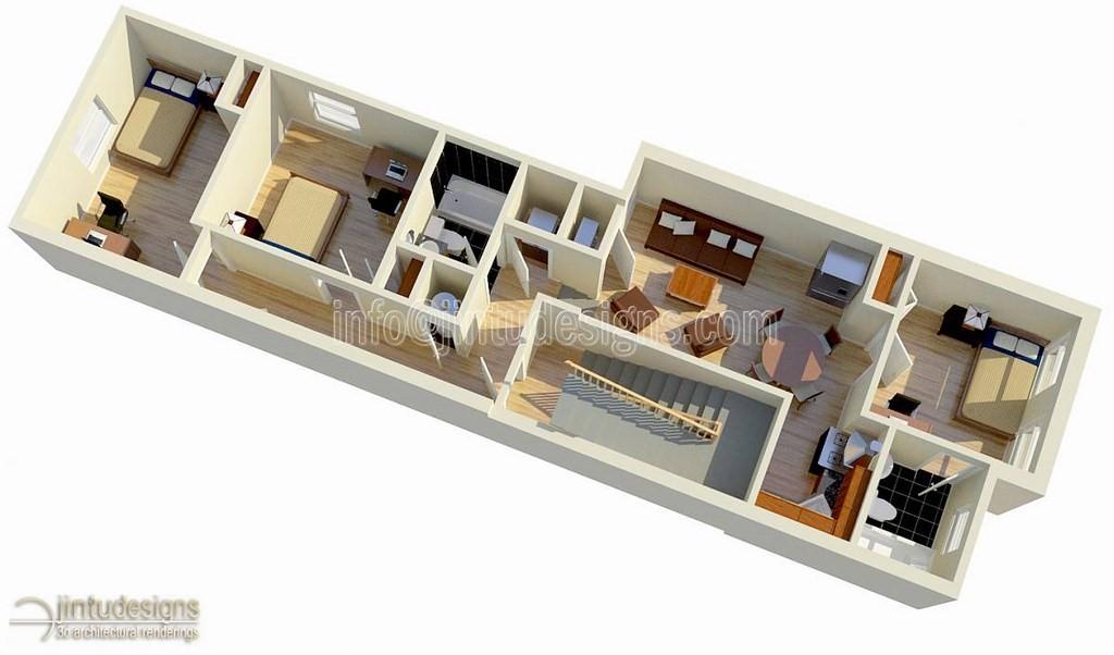 3D Floor Plan Rendering  Minimalist On Floor Plan 3