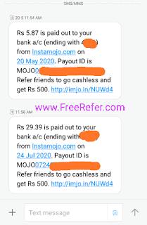 Instamojo Payout proof of screenshot
