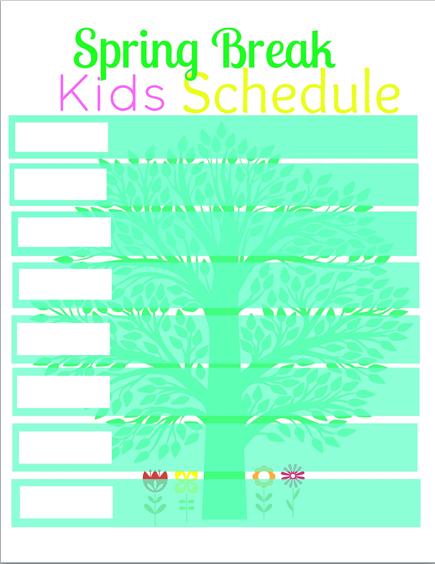 spring break kid schedule printable