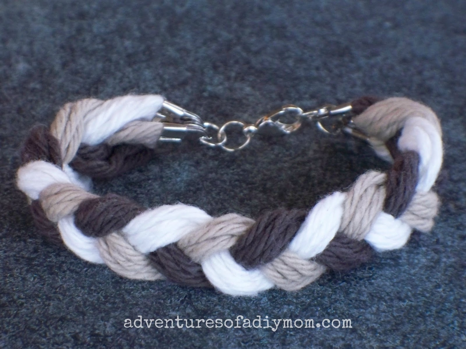 Braided Yarn Friendship Bracelet Sugar 'n Cream Chocolate Ombre