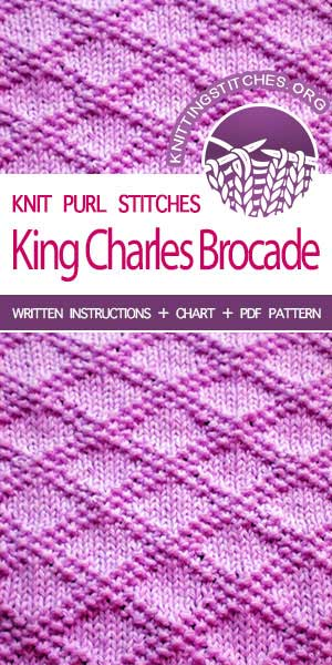 Knitting Stitches -- Knitting instructions for King Charles Brocade knitting stitch pattern. Great for hats, gloves, and headbands! #knitting