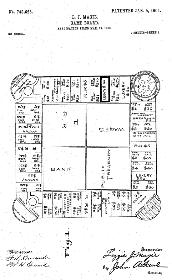 The Landlord's Game patent 1904