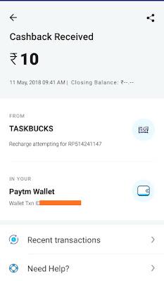 Taskbuck paytm proof image
