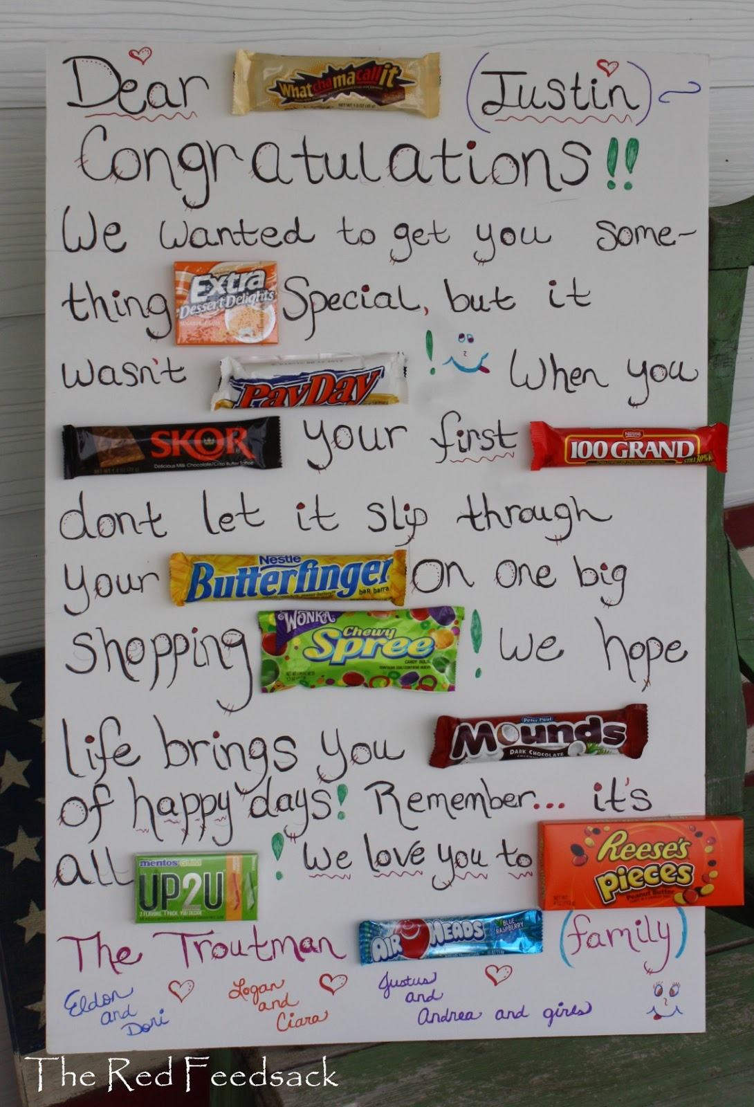 the red feedsack candy bar greeting