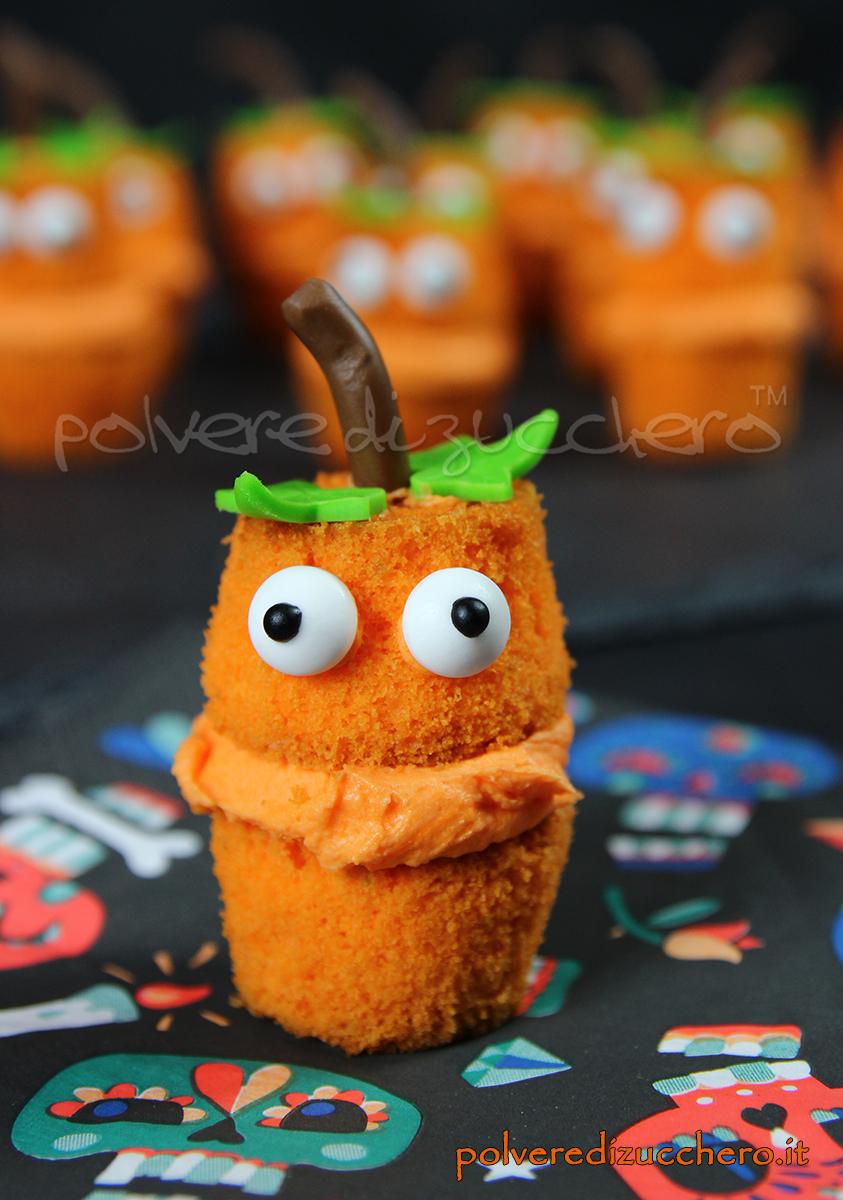 mini cupcakes halloween jack o'lantern zucca pumpkin tutorial passo a passo polvere di zucchero cake design pasta di zucchero ricette