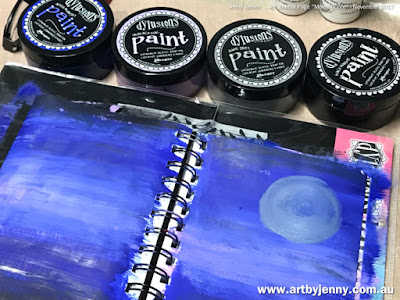 Dylusions paint in blue, purple, grey and black