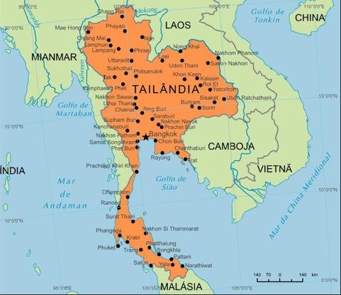 mapa da tailandia Tailândia Mapa Fronteira mapa da tailandia