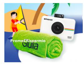 Logo Con Buitoni vinci teli mare personalizzati e Polaroid Snap Touch