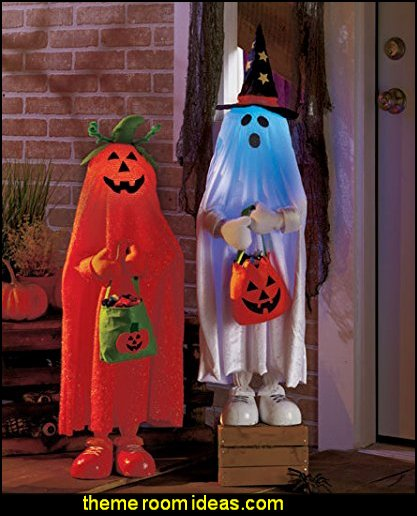 Color Changing Halloween Trick or Treaters Pumpkin & Ghost Kids Greeters Haunted House Decor