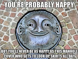happy manhole cover with funny face