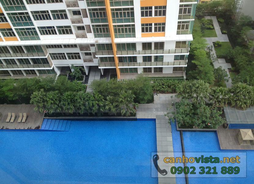 thuê căn hộ The Vista 2 phòng ngủ tầng 10 - view toàn cảnh hồ bơi