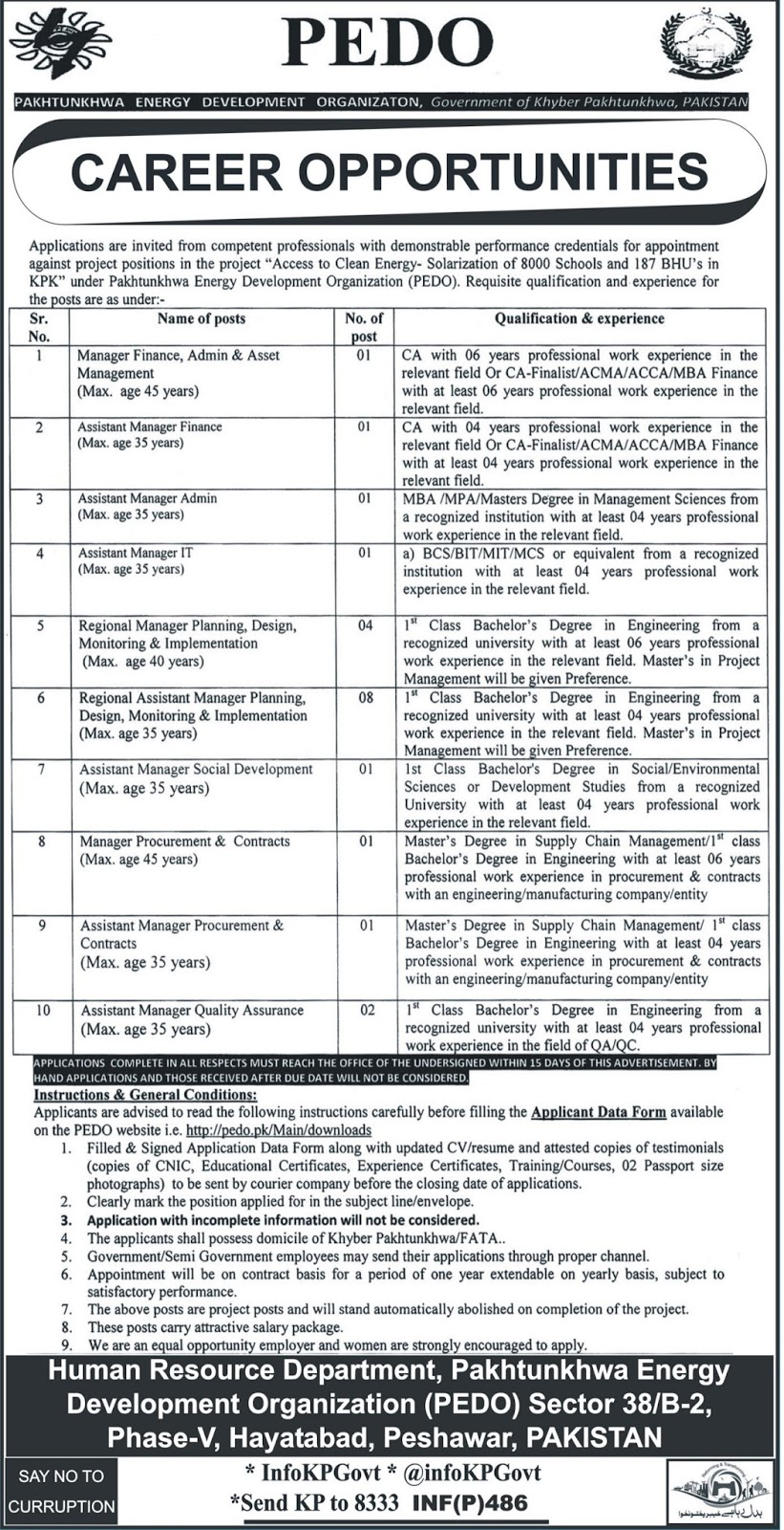 Jobs In Pakhtunkhwa Energy Development Organization Peshawar January 2018