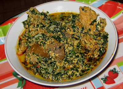 Egusi soup with vegetables