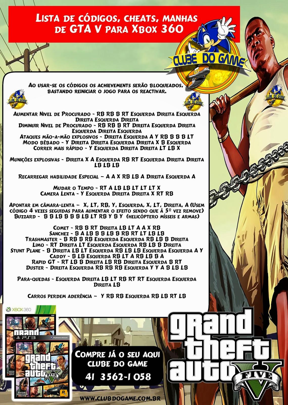 Manhas GTA 5 PARA XBOX 360 Clube Do Game