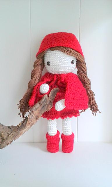 Crochet pattern amigurumi doll little red riding hood