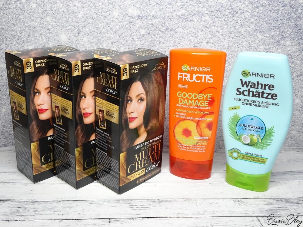 Farba do włosów Joanna, Multi Cream, Orzechowy brąz, Odżywka do włosów Garnier Goodbye Damage, Odżywka do włosów Garnier Wahre Schatze Kokoswasser&Aloe Vera recenzje blog