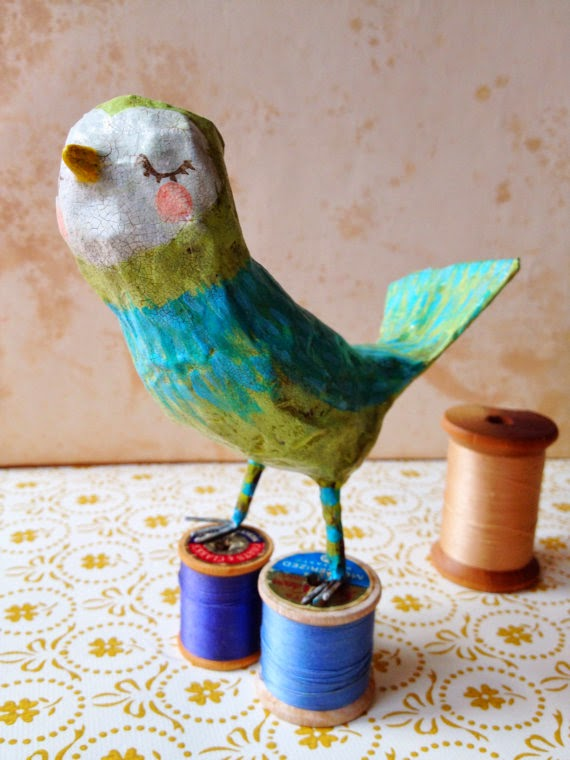 paper mache sculpture, bird, Hearts and Needles, Etsy, Sarah Hand