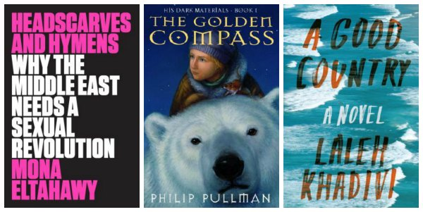 collage of three book covers: headscarves and hymens, the golden compass, a good country