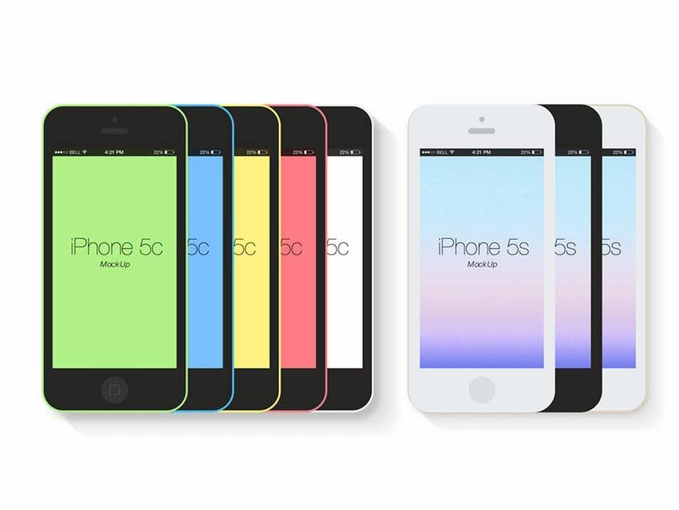 Free Flat iPhone 5s Mockup PSD