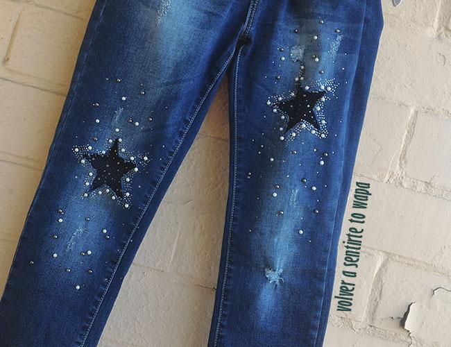 Vaqueros pitillo con estrellas, perlas y rejilla