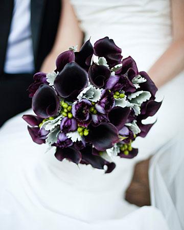 Wedding Flowers Lilies Purple Bouquet Bridal: Black ...