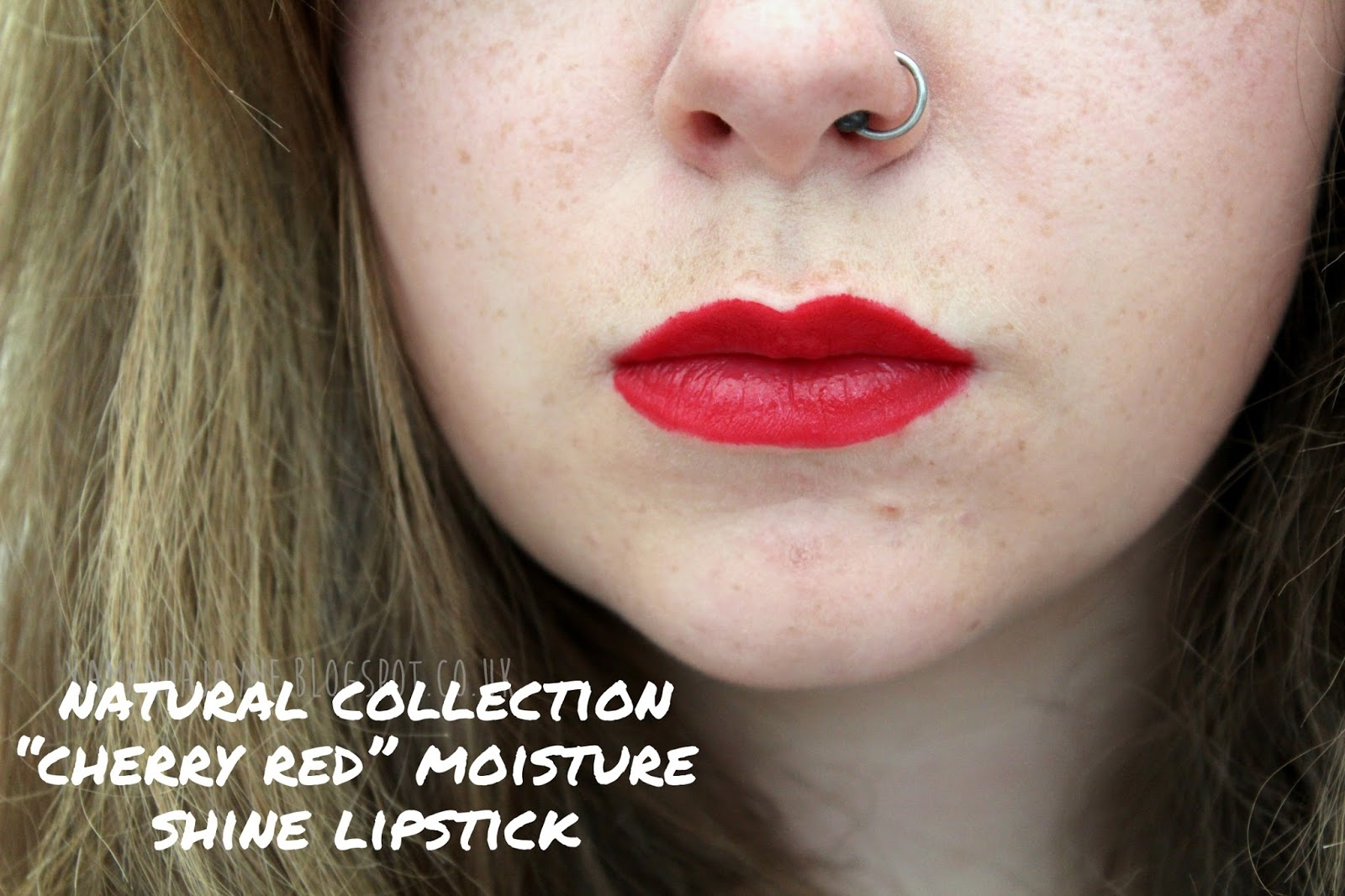 natural collection moisture shine lipstick cherry red swatch