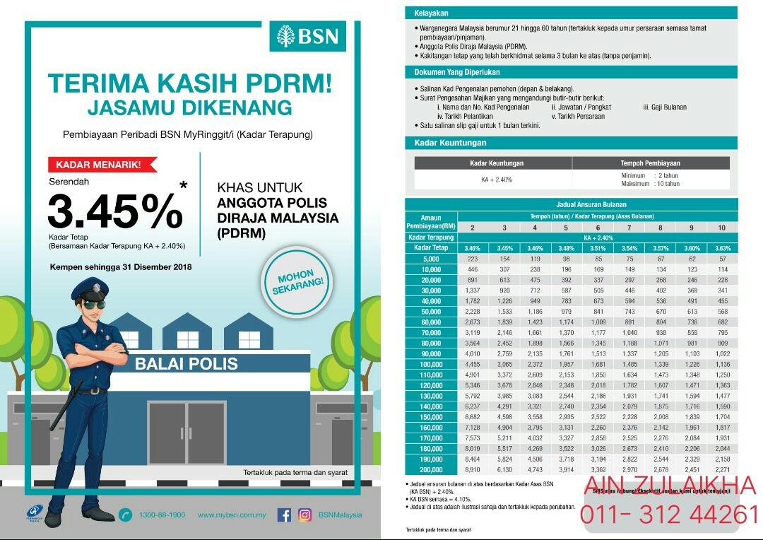 Kakitangan Pdrm Jom Buat Loan Bsn Bagi Rate Special Punya Untuk Kakitangan Pdrm Queenbee By Mek