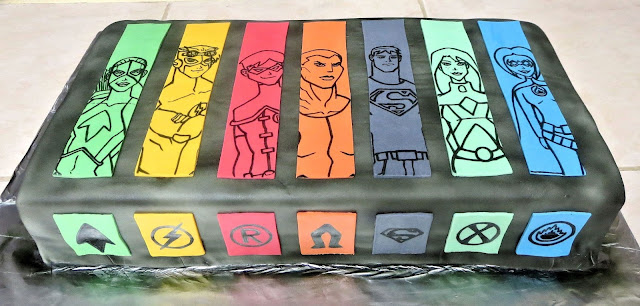Young Justice Character Cake - Artemis, Kid Flash, Robin, Aqualad, Superboy, Miss Martian, Bluefire
