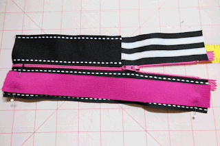 pin elastic ends to ribbon ends