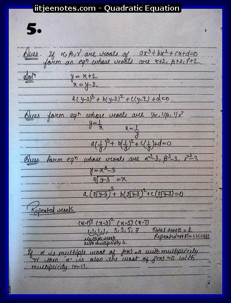 Quadratic Equation Notes-Maths4