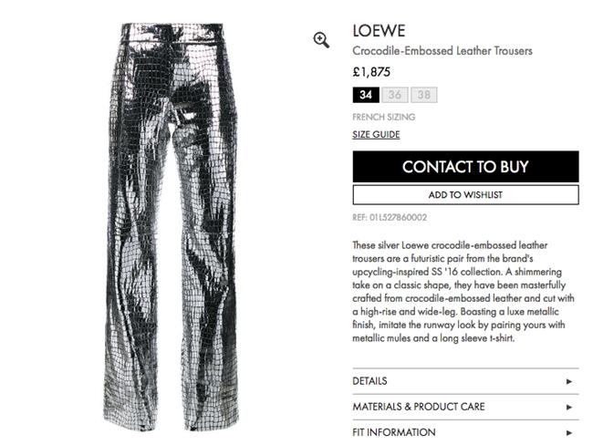 Loewe銀色鱷魚壓紋長褲