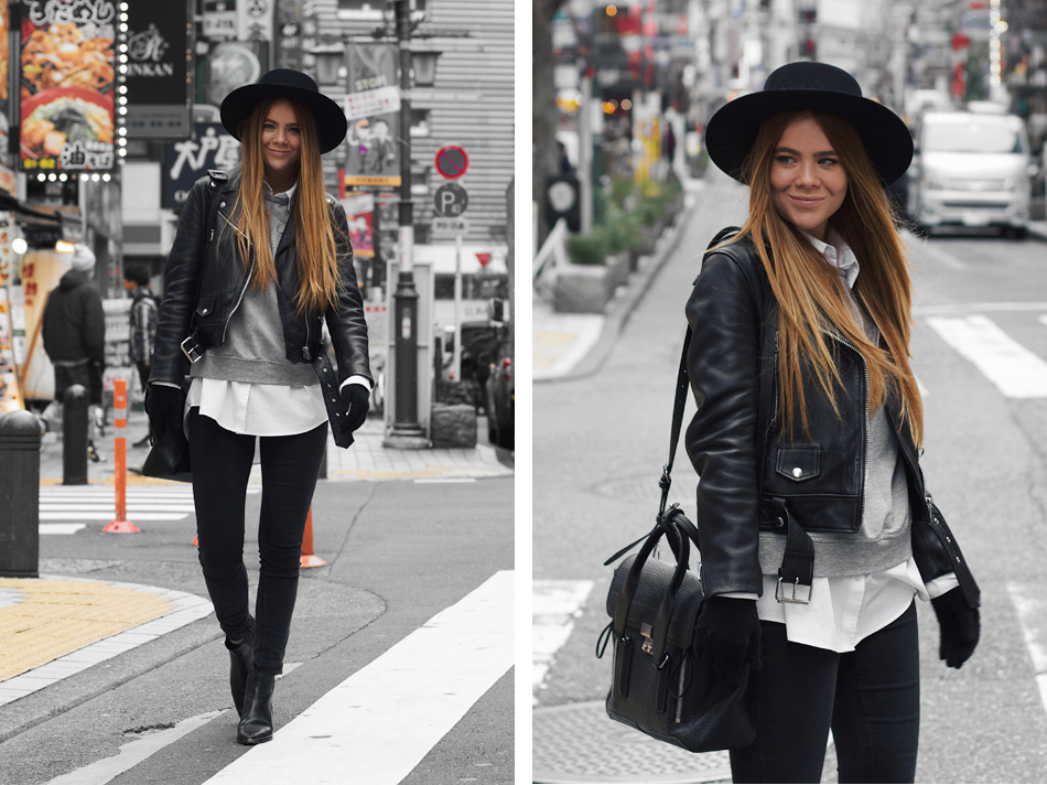 Acne black and white leather jacket