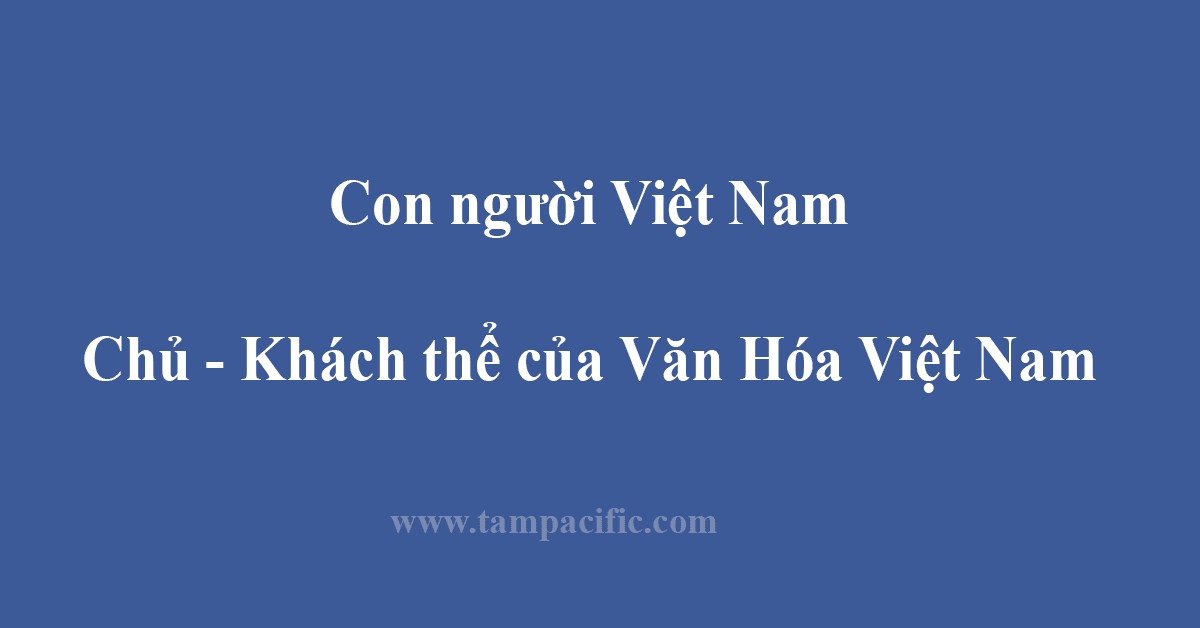 Con người Việt Nam, Chủ - Khách thể của Văn Hóa Việt Nam