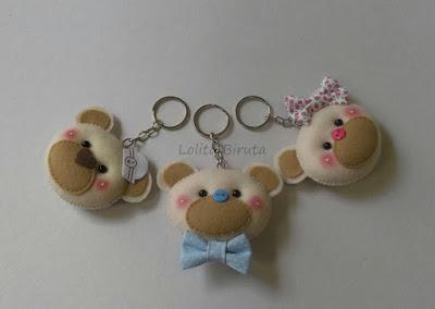 Chaveiros cabeça de ursos para lembrancinhas