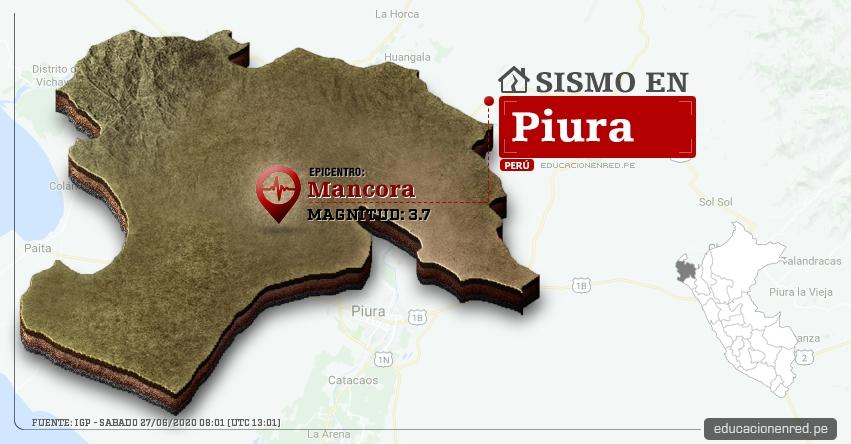 Temblor en Piura de Magnitud 3.7 (Hoy Sábado 27 Junio 2020) Sismo - Epicentro - Mancora - Talara - IGP - www.igp.gob.pe