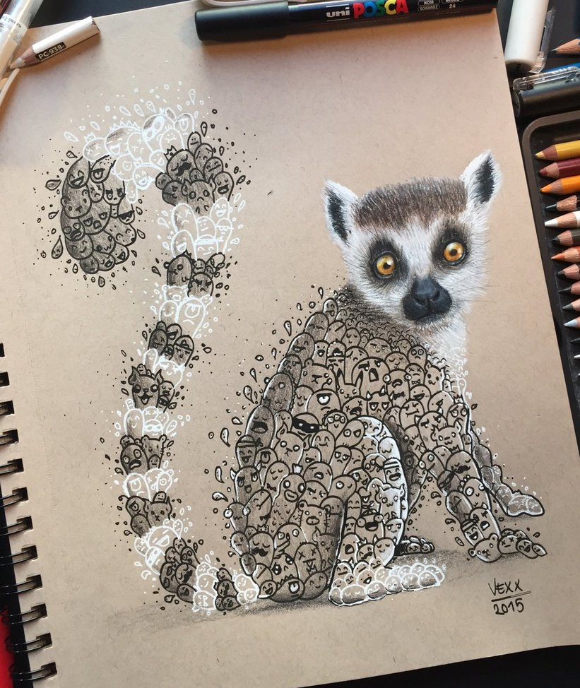 05-Lemur-Doodle-Art-Vince-Okerman-vexx-Doodle-Drawings-that-Brightenup-your-Day-www-designstack-co