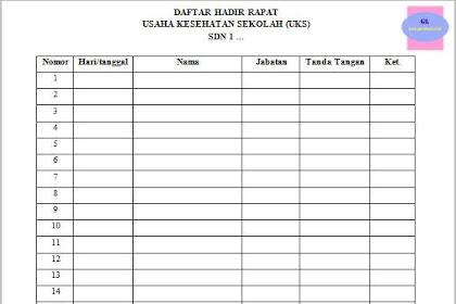 Daftar Hadir Rapat UKS SD