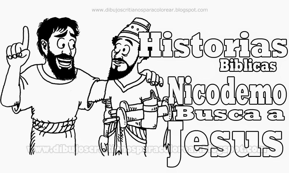 David Y Goliat Para Colorear Dibujos Cristianos Para: Dibujo De Nicodemo Para Colorear