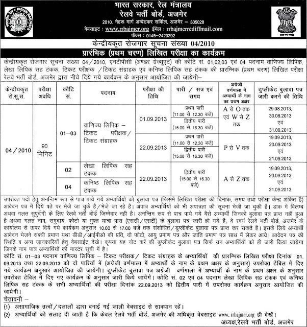RRB Advertisement 04/2010 Written Test Schedule for