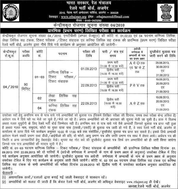 RRB Advertisement 04/2010 Written Test Schedule for