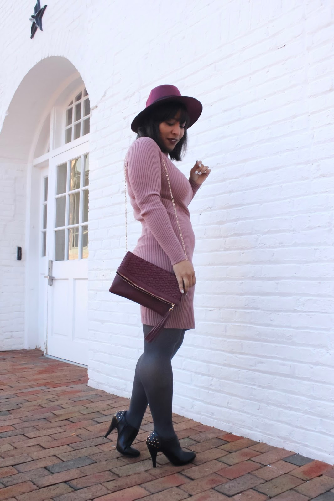 sweater dress outfit, knit dress, sweater dress with tights, how to wear a sweater dress, dress with leggings, forever21 dresses